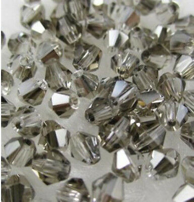 Free shipping 100pcs 4mm Loose Glass Crystal #5301 Bicone beads Plated gray #3