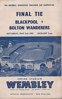 Bolton Wanderers V Blackpool Fa Cup Final ~ 2 May 1953 ~ Original Programme