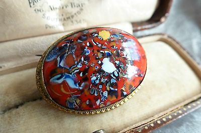 Antique Victorian Superb Red Agate? Varigated Stone Oval Brooch Pin Clip