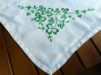 Vintage Irish linen tablecloth with embroidered shamrocks
