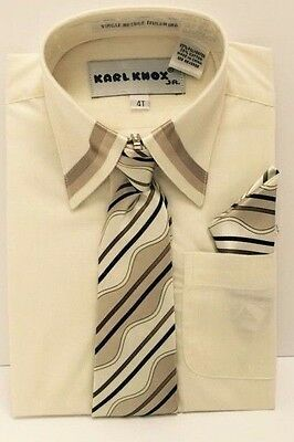 Toddler 4T Boys Dress Shirt Long Sleeve Ivory with Multi-Color Tie & Hanky New