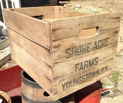 Vintage Rustic Shore Acre Farms Wood Produce Crate NY Wooden advertising box