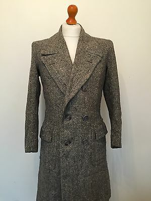 Mens Vintage 1940's Grey Tweed  Wool Overcoat Coat Size 36