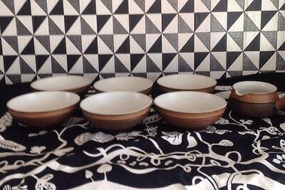 Denby 6 Brown Textured Soup �� Bowls And Soup Pourer All In Lovely Condition