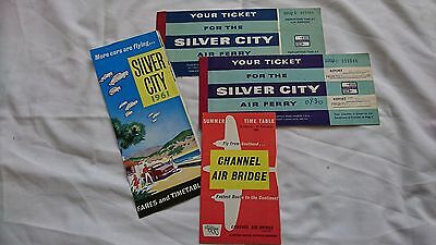 VINTAGE 1961 SILVER CITY AIRWAYS AIRLINES FARES TIMETABLE and Tickets