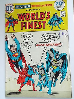 Superman Feb No 221 Rare Original Comic Dated Early 1970`s - Worlds Finest