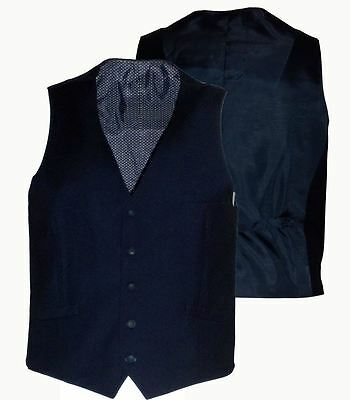 Mens Formal Semi Fitted Navy Waistcoat (Jefferson) in Size 36 to 52, S/R/L