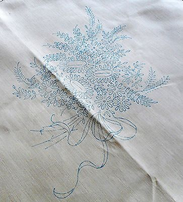 Beige linen tablecloth to embroider Hand tied flowers & garlands