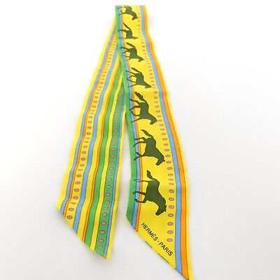 AUTHENTIC HERMES 100% Silk Twilly Scarf Tie Horse