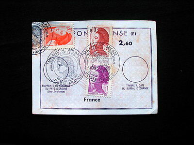 1987 France IRC INTERNATIONAL REPLY COUPON with stamps