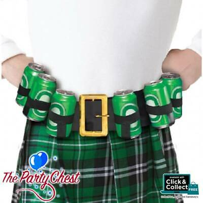 ST PATRICKS DAY DRINKING BELT 6 Beer Can Holder Party Festival Accessory 95385