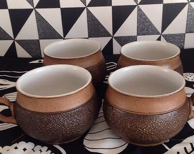 4 Denby Brown Textured Coffee Mugs In Lovely Condition