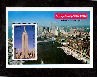 Nevis #760  $6  Empire State Building  S/s   Mint  Vf Nh