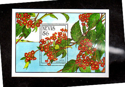 Nevis #792  $6  Tropical Flowers  S/s   Mint  Vf Nh