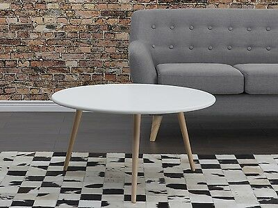 Coffee table, round, MDF plate, beech wood, end table, white