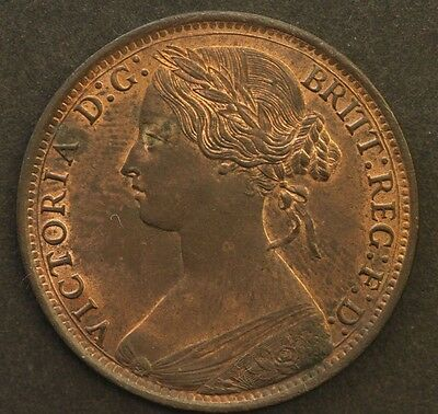 Victoria One Penny 1861 Uncirculated Bronze Coin