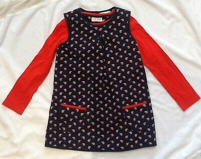 next long sleeve red top and apple print dress set age 4-5years