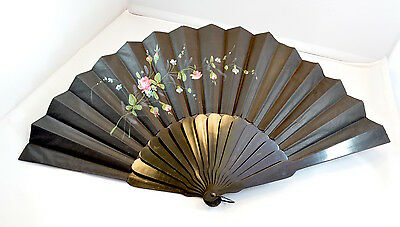 Vintage black wood/ebony and paper hand fan with hand painted decoration