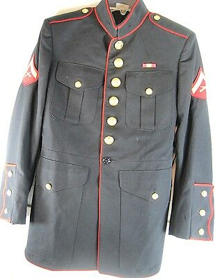 US Marine Dress Jacket Size 39R Blue Brass Buttons Made In USA.  VVV 26