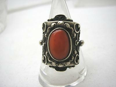 Art Deco Russian Marked 800 Silver & Natural Coral Ring size Q