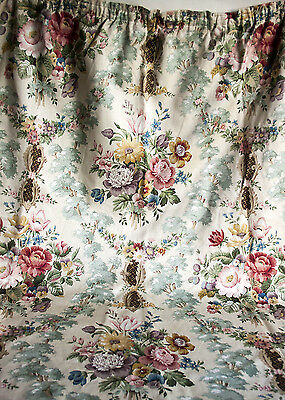 Vintage Sanderson Fabric Trees & Flowers Cotton Pair of Curtains - FREE UK P&P
