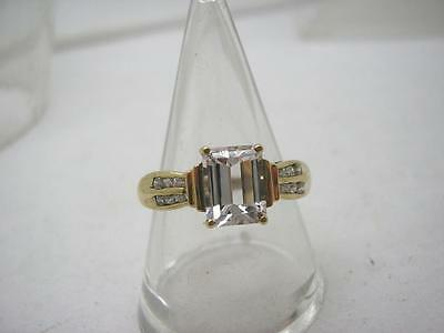 Vintage 9ct Gold Emerald Cut CZ Ring size O