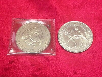 1977 Silver Jubilee coin and 1981 Royal wedding coin