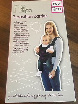 Baby Purple 3 Position Ergonomic Carrier Mothercare. Used Once