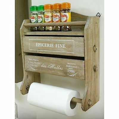 Triple Foil Dispenser Kitchen Roll Home Accessories Spice Rack Vintage Chic Wood