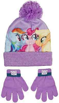 Girls My Little Pony Bobble Hat + Gloves Set Warm Knitted Beanie MLP Kids Size