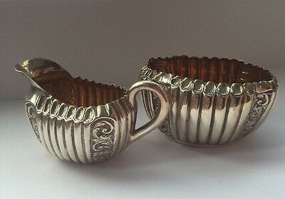 Silver Antique Sugar Bowl And Milk Jug