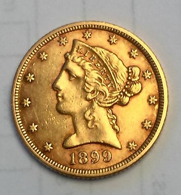 1899 Gold Us Eagle Five Dollar
