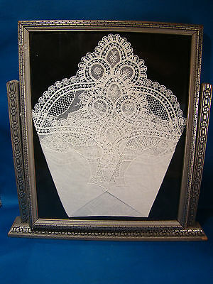 "Vintage Handkerchief Hankey White LACE Linen Framed 10.5"" by 8.5"" @C"