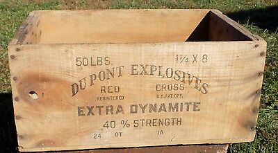 Vintage Wooden Wood Box Crate DuPont  Explosives Extra Dynamite Red Cross
