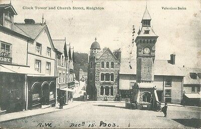 Knighton, Powys. Clock Tower and Church Street. 1903