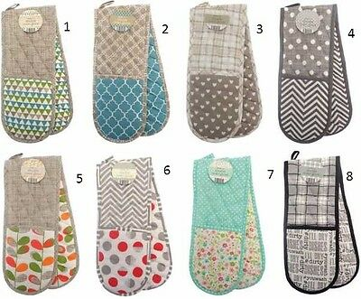 Double Kitchen Oven Mitts Gloves Baking Cooking Bbq Gloves