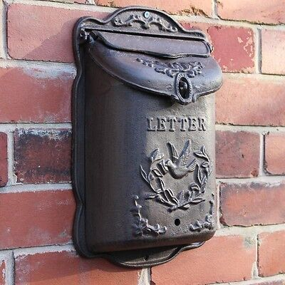Grey metal postbox letter mailbox shabby vintage chic storage wall accessory