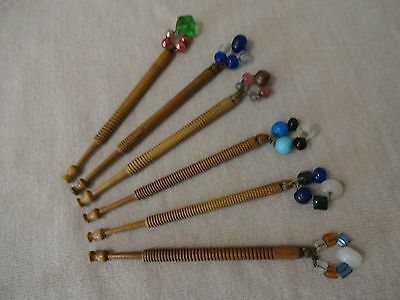 Six Vintage East Midlands Turned Hard Wood Lace Maker's Bobbins With Spangles