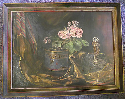 Stunning Large Antique S.w.a Still Life Original Oil Painting On Canvas