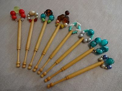 Eight East Midlands Turned Wood Lace Maker's Bobbins With Glass Spangles
