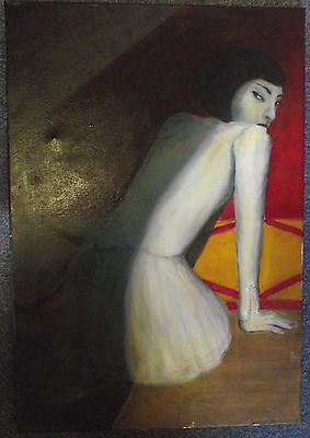 Stunning Large Original Oil Painting On Canvas Study Of Lady