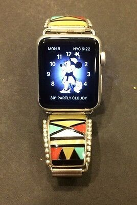 $88 Sterling Silver Multi Stone 42mm or 38mm apple watch band HE Cellicion Zuni