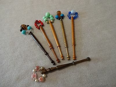 Six Various East Midlands Turned Hard Wood Lace Maker's Bobbins With Spangles