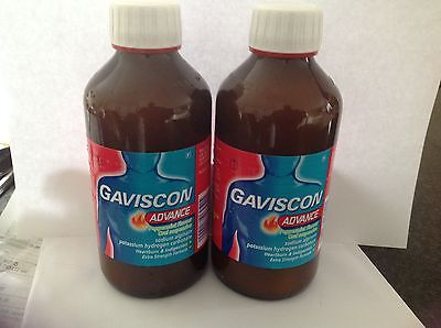 Gaviscon Advance Peppermint 2X250Ml Bottles Reflux Indigestion Expy May 2018 New