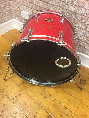 """Pearl Export Vintage 1985 22""""X16"""" Coral Red Wrapped Bass Drum for Drum Set"""