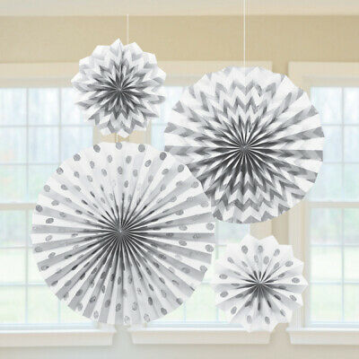 White Glitter Paper Hanging Fan Decorations x 4