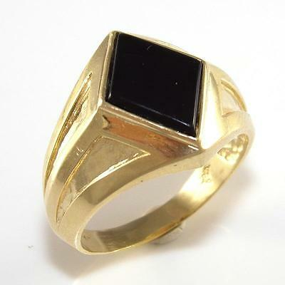 14K Yellow Gold Black Onyx Dome Band Ring Size 10 QR1