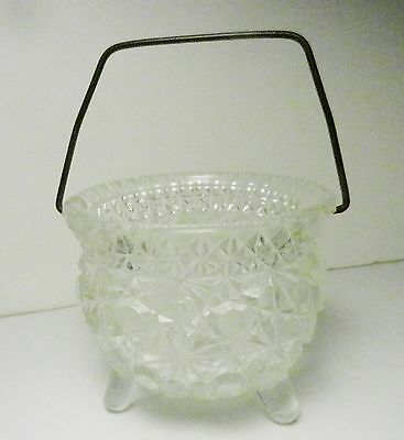 L.E. Smith-Daisy & Button Crystal 3-Toed Cauldron/Kettle-Toothpick-Metal Handle