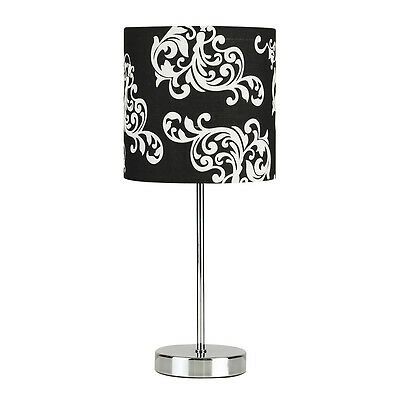 Modern Chrome & Black Damask Lampshade Touch Dimmer Table Lamp Light Bedside NEW