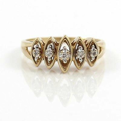 Solid 14K Yellow Gold Natural Diamond Band Ring Size 9.5